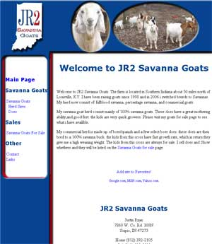 Thumbnail Screenshots / Portfolio of (mostly boer goat web ) pages I